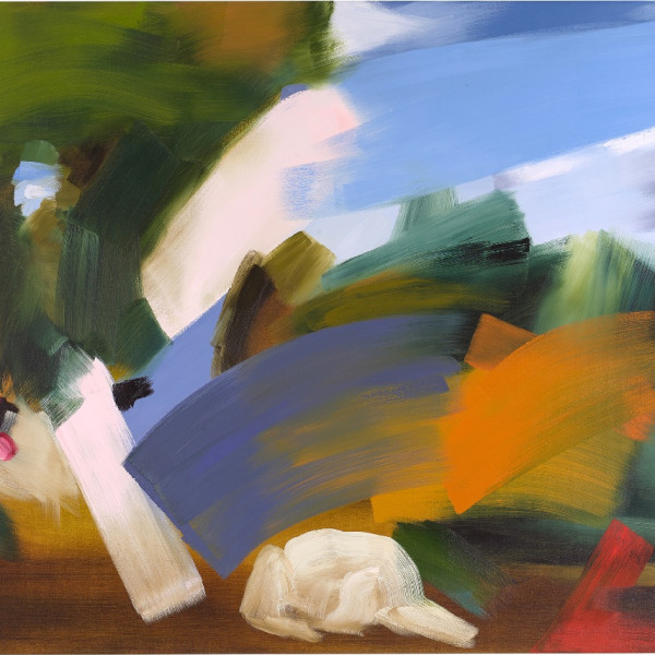 Elise Ansel, First Stone II, 2016, oil on linen, 60 x 72 inches.