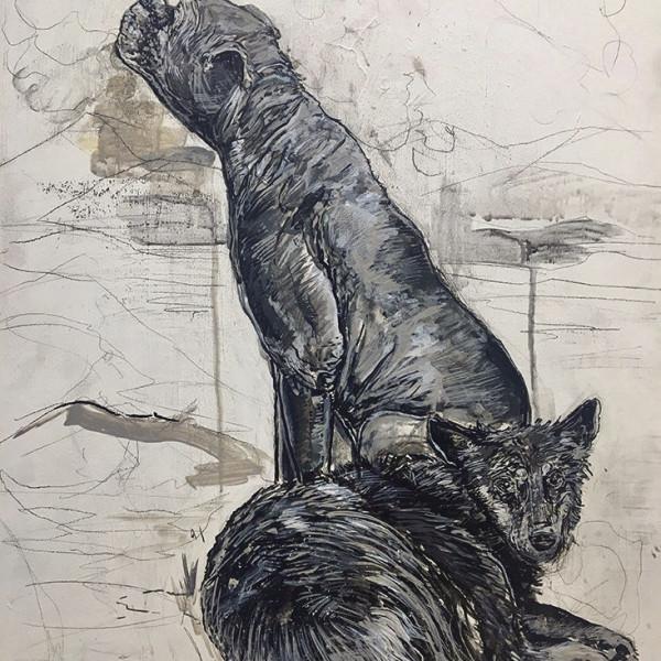 Chaz John: Untitled, 2018, acrylic on wood panel