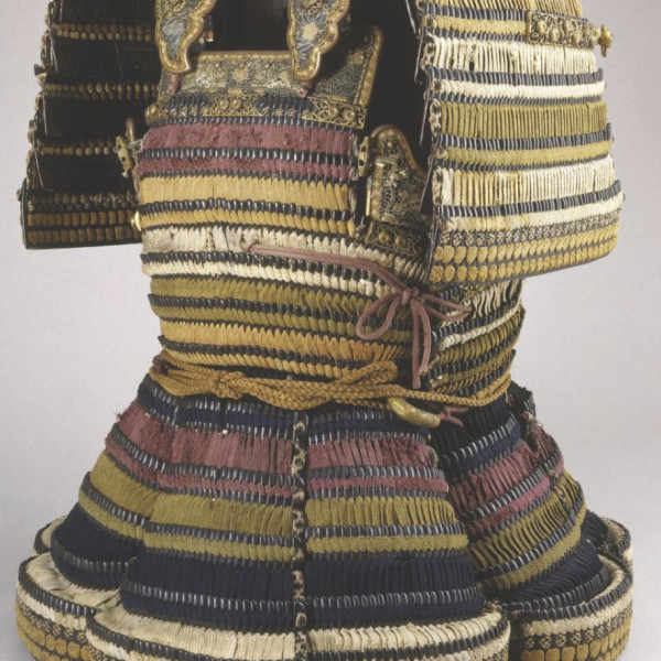 Above; Armour (Do-maru), armour, ca. 1550; helmet, 18th century, Japanese, Iron, leather, lacquer, silk, gilt copper. This armour is believed to have been given by Date Masamune (died 1636), one of the most famous daimyos of his time, to a high-ranking samurai in his service, Shiraishi Bungo
