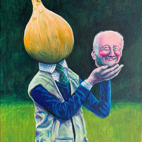 Olaf Falafel, Mr Onion and his Prize Winning Graham, Acrylic on Canvas, 40 x 30 cm