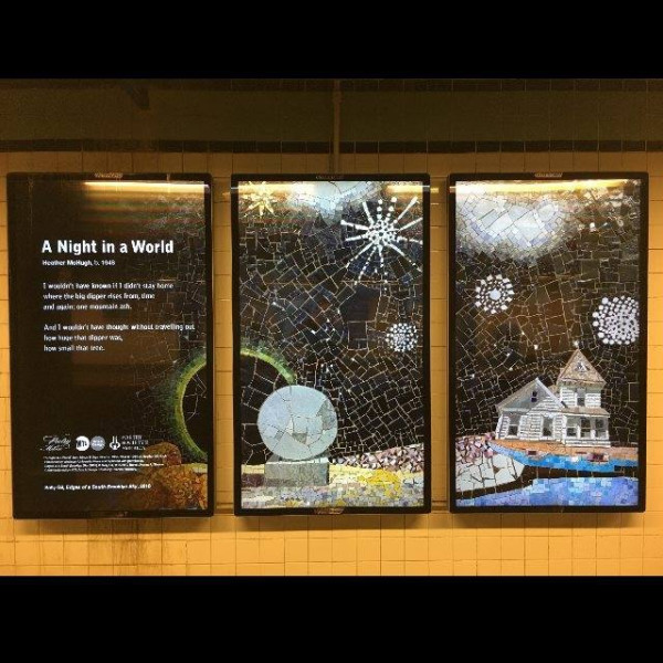 """""""A Night in the World,"""" Poetry in Motion featuring artwork from Sally Gil's """"Edges of a South Brooklyn Sky"""" & poetry by Heather McHugh"""