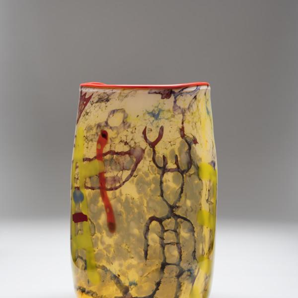 Rainbow Basket (2016), blown glass, 13 1/2 x 8 x 8 in