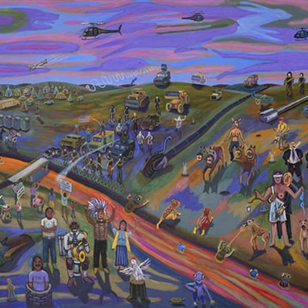 "Jim Denomie, Standing Rock 2016, 2018, oil on canvas, 92 x 120"""