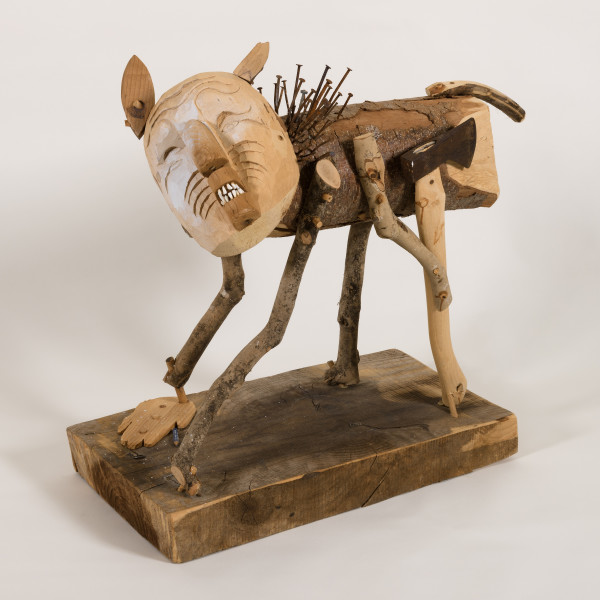 """Man Acting Like Dog"", 2009, wood, metal, graphite, joint compound, 24"" x 12"" x 24"""