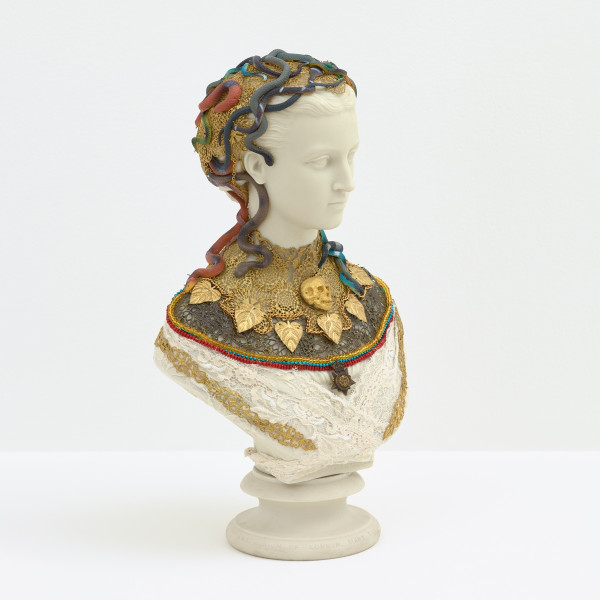 Hew Locke, Souvenir 10 (Princess Alexandra), 2019, Mixed media on antique Parian ware, 40 x 23 x 14 cm, 15 3/4 x 9 1/8 x 5 1/2 in