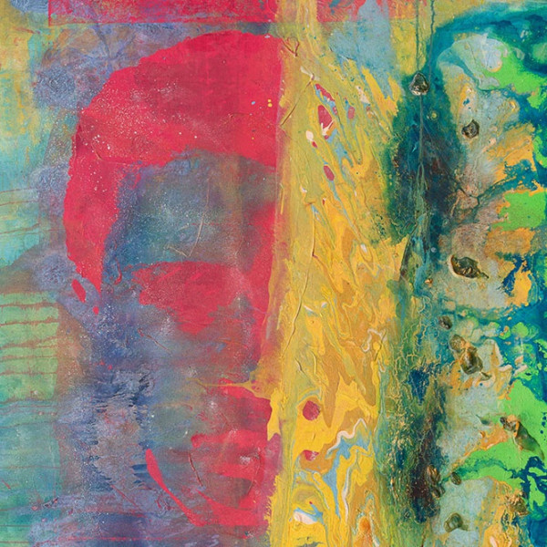 Detail of Frank Bowling, Pouring Over 2 Morrison Boys & 2 Maps II, 2016, Acrylic on canvas, 306 x 184 cm, 120 1/2 x 72 1/2 in