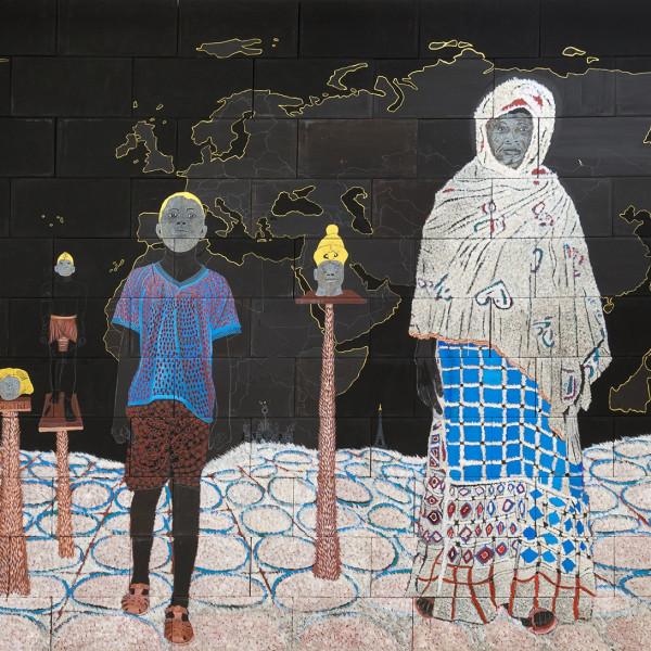 Detail of Omar Ba, Clin d'œil à Cheikh anta Diop-Un continent à la recherche de son histoire, 2017, Oil, pencil, acrylic, ink, and gouache on corrugated card, As installed: 329.8 x 717.8 x 39.6 cm, 129 7/8 x 282 5/8 x 15 5/8 in
