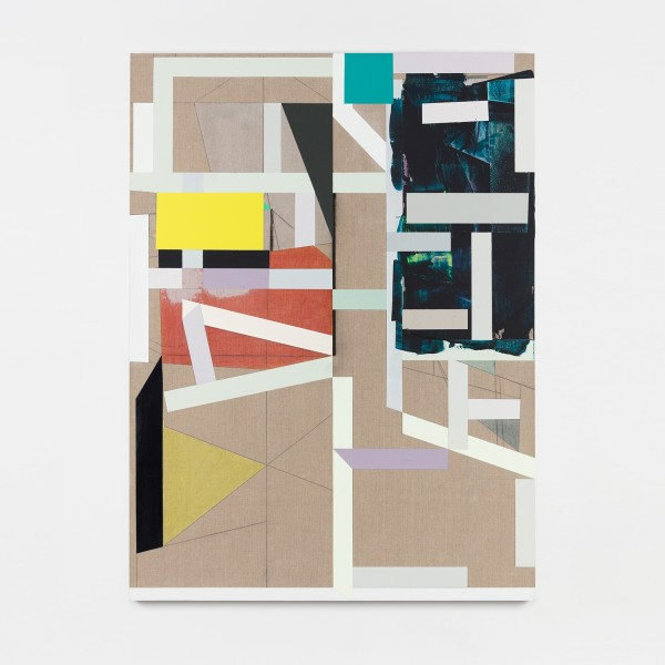 Andrew Bick, Variant t-s [flat and tilted] #2 v3, 2013-2018, Acrylic, pencil, oil, watercolour, and wax on linen on wood, 135 x 100 x 4 cm, 53 1/8 x 39 3/8 x 1 5/8 in