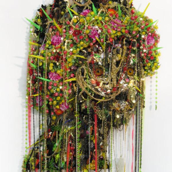 Hew Locke, Medusa, 2008, Metal, plastic, and fabric on MDF, 210 x 89 x 20 cm, 82.74 x 35.07 x 7.88 in
