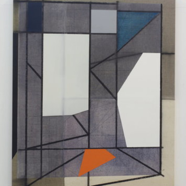 Andrew Bick, OGVDS [tilted] A, 2012, acrylic, charcoal, oil paint, watercolour and wax on sewn canvas on wood, 76 x 64 cm, 29 7/8 x 25 1/4 in