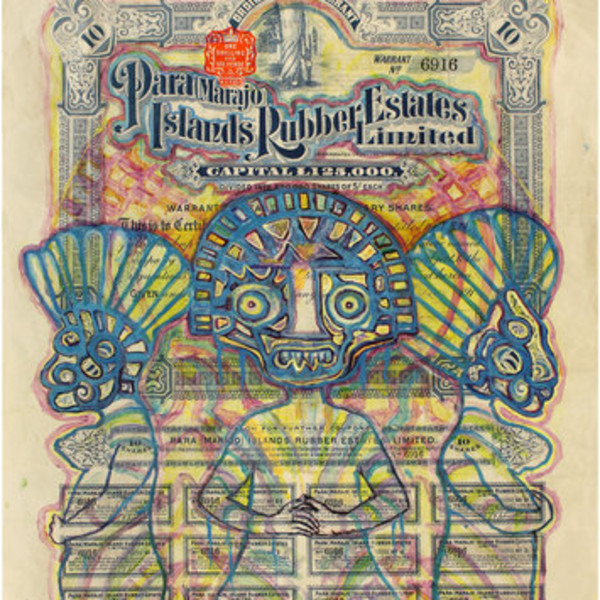 Hew Locke, Para Marajo Island Rubber Estates, 2012, Acrylic ink on antique paper share certificate, 46.5 x 36.5 cm, 18 1/4 x 14 3/8 in, Framed: 53 x 42.9 x 4.1 cm, 20 7/8 x 16 7/8 x 1 9/16 in