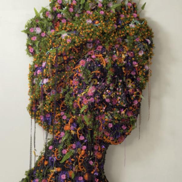 Hew Locke, Black Queen, 2004, Plastic, screws, fabric, and plywood, 274 x 190 cm, 107 7/8 x 74 3/4 in