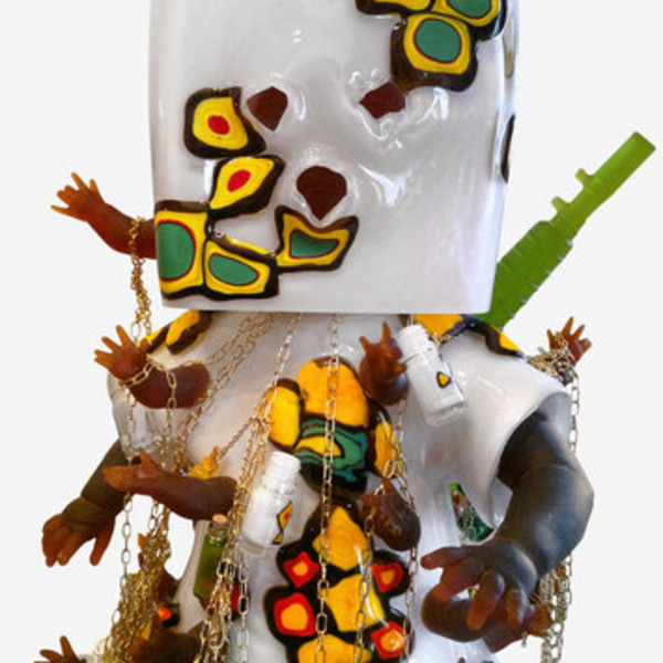 Detail of Hew Locke, Mummy's Little Soldier, 2013, Glass and metal chain, 90 x 60 x 40 cm, 35 3/8 x 23 5/8 x 15 3/4 in, Edition of 3 plus 1 AP