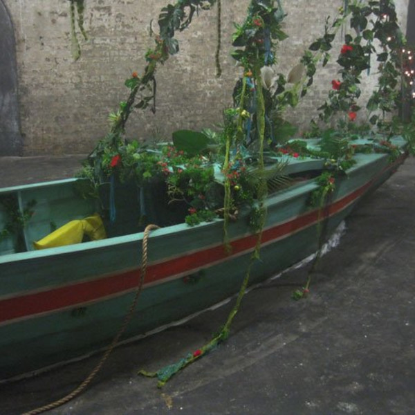 Hew Locke, Adrift, 2012/2013, Wood, metal, artificial foliage, fairy-lights, fabric, 662 x 636 x 180 cm, 260 5/8 x 250 3/8 x 70 7/8 in