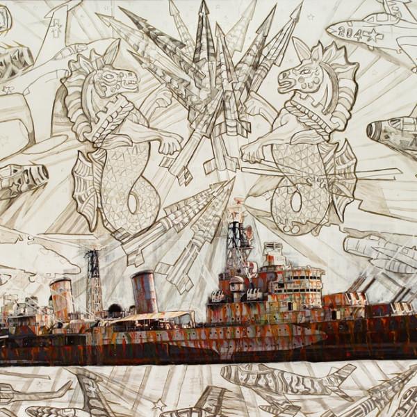 Detail of Hew Locke, HMS Belfast, 2012, painted photograph, Unframed: 127 x 188 cm, 50 x 74 1/8 in, Framed: 137.5 x 199 cm, 54 1/8 x 78 3/8 in