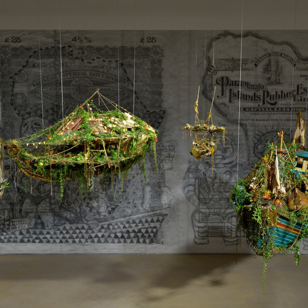 Installation view of Hew Locke Beyond the Sea Wall at Hales London