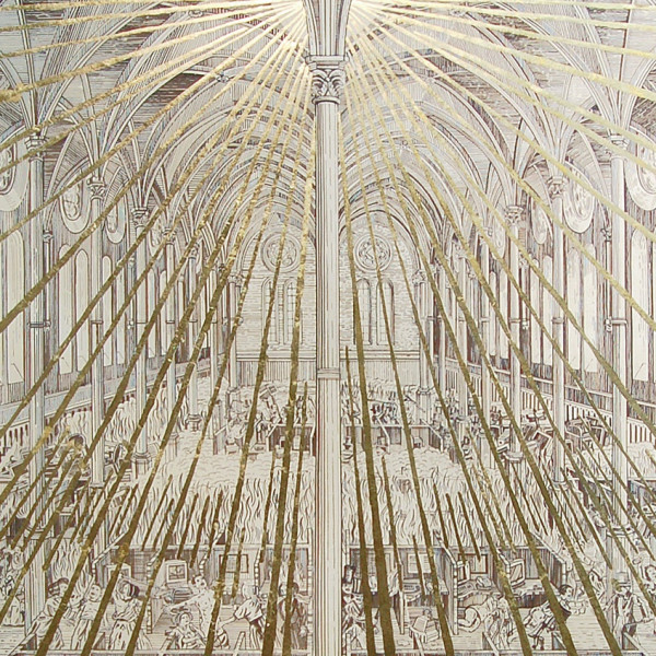 Detail of Adam Dant, The Dissolution of the Call Centre, 2009, Ink and gold leaf on paper, 213.4 x 152.4 cm, 84 x 60 in