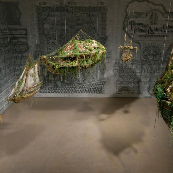 Hew Locke, Off Shore Drift, 2014, works consists of 7 models: wood, cotton textile, metal – aluminium, brass, zinc, acrylic paint, plastic foliage dimensions variable