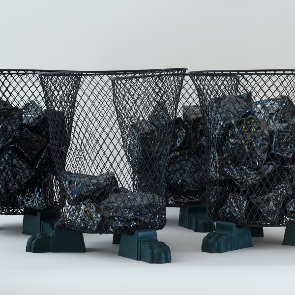 Richard Slee, Waste Baskets, 2017, Lustre glazed ceramic with mesh basket and plastic lions claw feet in four (4) parts, Each: 30 x 28 cm, 11 3/4 x 11 1/8 in