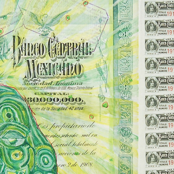 Detail of Hew Locke, Banco Central Mexicano, 2009, Acrylic and felt pen on antique paper share certificate, 29.5 x 40.3 cm, 11 5/8 x 15 7/8 in, Framed: 36.8 x 47 cm, 14 1/2 x 18 1/2 in