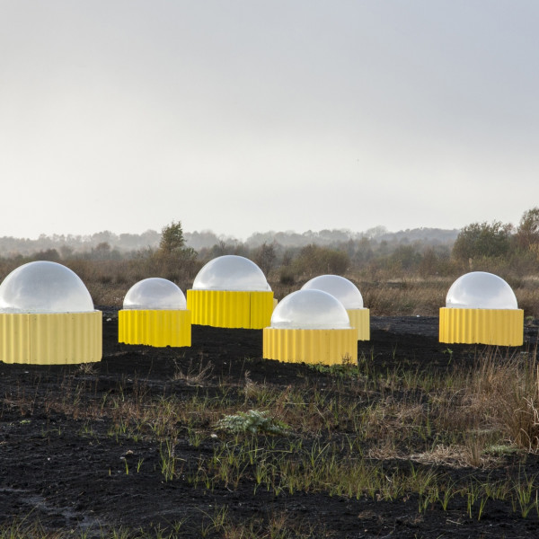 Installation view of Rachael Champion, Carbon Flux, 2017, Site-specific installation made in collaboration with Caitriona Devery and the Pullough Heritage Community Group, Turraun Wetland, Lough Boora Discovery Park, Offaly, Ireland, Polycarbonate domes,