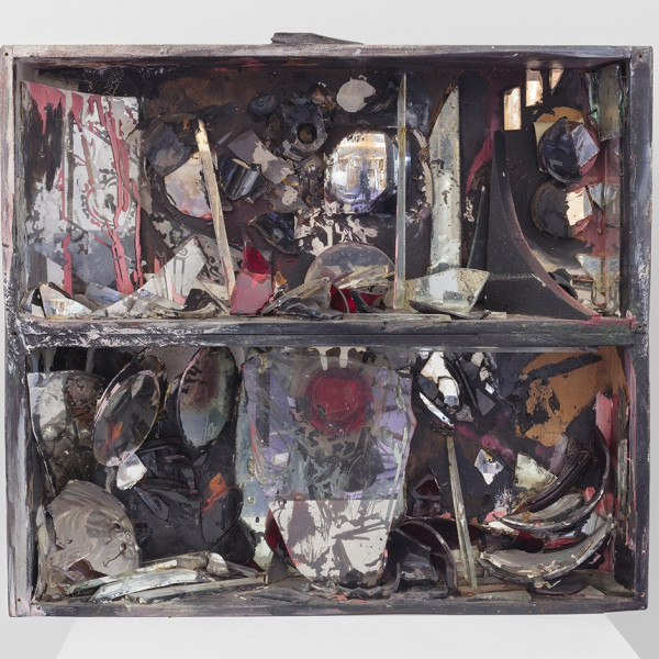 Detail of Carolee Schneemann, Fire-Controlled Burning: Fireplace, 1963-64, Wooden box, glass, shards, burnt paint, adhesive, 54.6 x 62.2 x 13.3 cm, 21 1/2 x 24 1/2 x 5 1/4 in