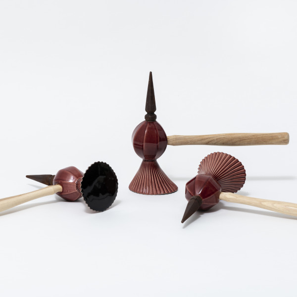 Richard Slee, Three Hammers, 2016, Glazed ceramic with wood hammer handles and cast iron in three (3) parts, 26 x 36 x 10.5 cm, 26.5 x 36 x 10 cm, 27 x 36 x 10 cm, Photo by Damian Griffiths, Installation view 1