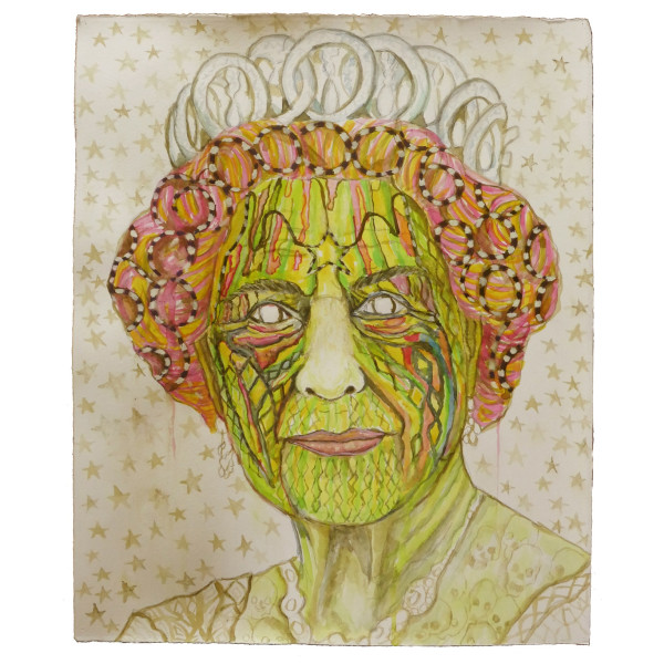Hew Locke, Corona Queen 5, 2020, Pencil, acrylic, and watercolour on paper, 35 x 45.5 cm