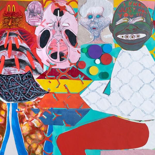 Trenton Doyle Hancock,I Know Just How You Feel, 2015 (detail), acrylic and mixed media on canvas, 167.6 x 274.3 x 12.1cm