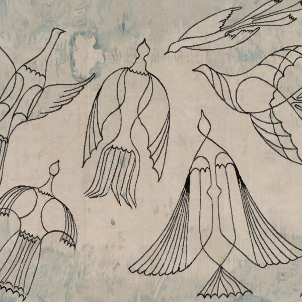 Birds, 2021, New Zealand wool tapestry, 127 x 153.5 cm, 50 x 60 3/8 in, Edition of 5. Based on Birds in Flight, 1979, a lost drawing by Anwar Jalal Shemza. Produced by Hales in collaboration with Odabashian and the Estate of Anwar Jalal Shemza.
