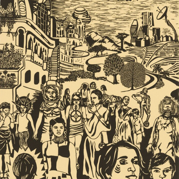 Detail of Chitra Ganesh, Sultana's Dream (City in Broad Daylight), 2018