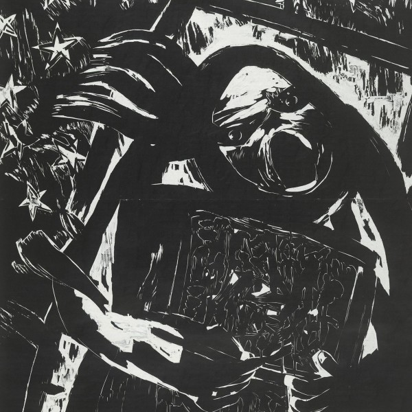 Drowsy (Detail), 2012, Woodblock Print