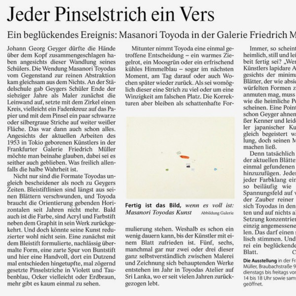 Newspaper article in the F.A.Z. Rhein-Main-Zeitung about the exhibition of Masanori Toyoda at Galerie Friedrich Müller