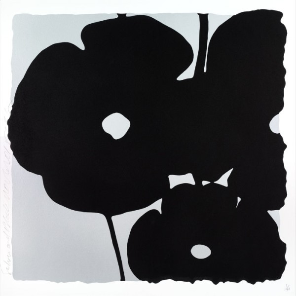 Donald Sultan - Lantern Flowers, Black and White *SOLD*, 2017