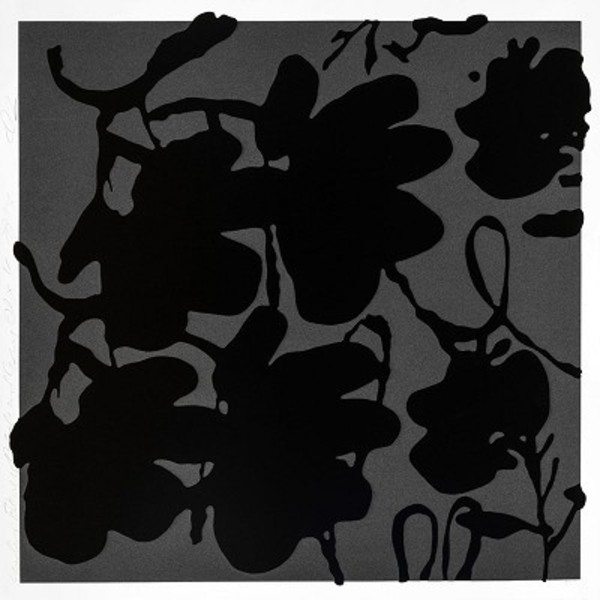 Donald Sultan - Lantern Flowers, Black and White , 2017