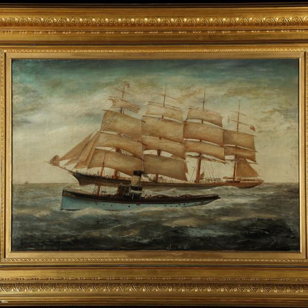ENGLISH SCHOOL - 'DRAGON' STEAM TUG, A SAILING SHIP BEYOND