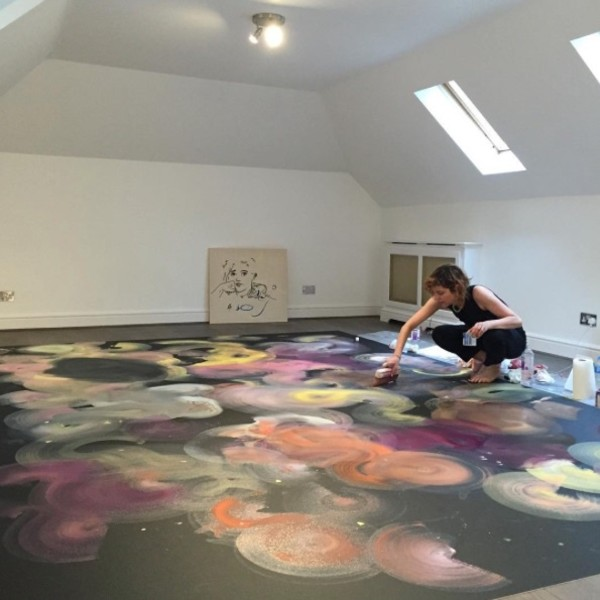Installing Double Acts, France-Lise McGurn's vinyl floor painting