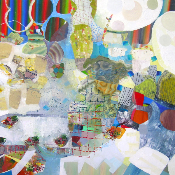 A work by Josette Urso using oil on canvas in various shades of red, blue, green, yellow, beige, brown and gray. The work depicts different layers of designs ranging from detailed line drawings to abstract flat shapes.