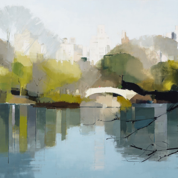 Oil painting and pencil on paper by Lisa Breslow in various shades of green, yellow, blue and white. The painting depicts a lake in a park with the city layered far back. Its reflection is very clear in the lake making it stand out.