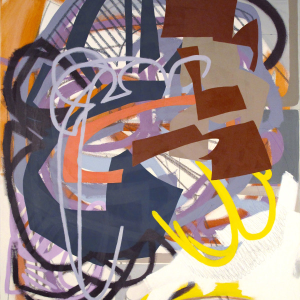 This abstract work of art has several different design textures overlapping each other and also resembling street art. The colors used are red, orange, yellow, blue, purple, white and gray.