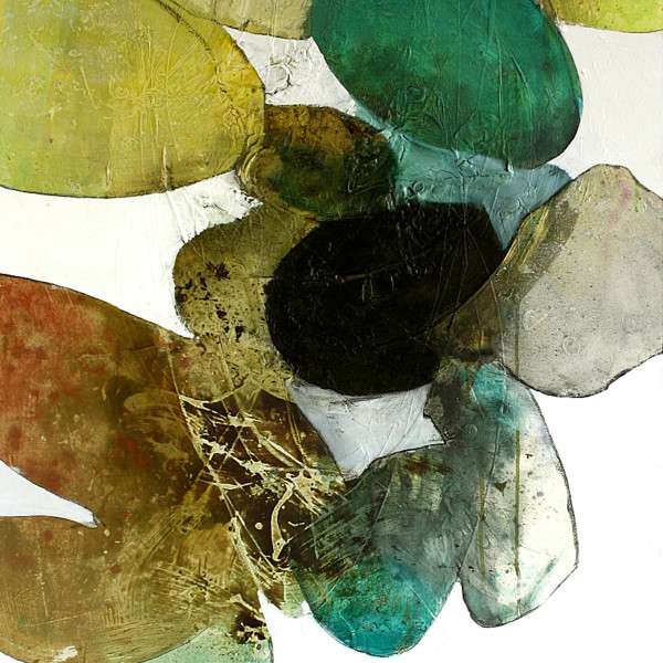 A work by Meredith Pardue done with mixed media on canvas in various shades of green, brown, black and gray. The work depicts different slightly rounded shapes made to look like stones as they overlap each other.