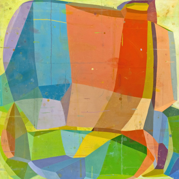 Abstract oil painting on canvas by Deborah Zlotsky in various shades of orange, blue, yellow, green, brown and purple. The painting depicts cube-like shape patterns. The layers of bright and dark colors create an illusion of depth.