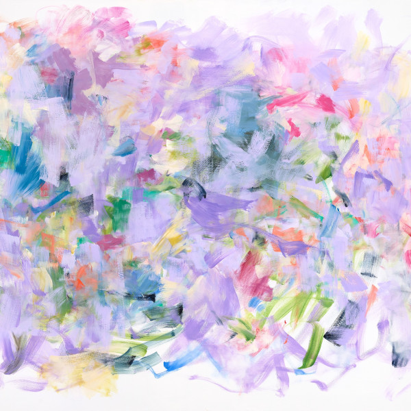 """Yolanda Sanchez's """"Hidden Harmonies"""" oil painting on canvas in various shades of pink, purple, green, blue, orange and peach. The painting depicts a texture pattern of line stroke done with flower-like colors."""