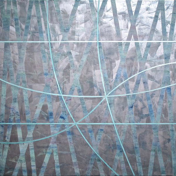 """Gudrun Mertes-Frady """"Hour of the Morning"""" oil and metallic pigment on canvas dominated in primarily cool colors. The painting has multiple vertical lines going in different directions painted in shades of blue."""