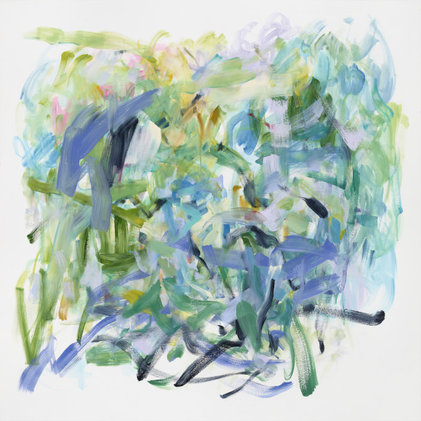 """Yolanda Sanchez's """"The Echoing Green"""" oil painting on canvas primarily consisting of cool colors. The painting has several paint strokes in shades of green and blue that is resembling grass and flowers as there are bits of pink."""