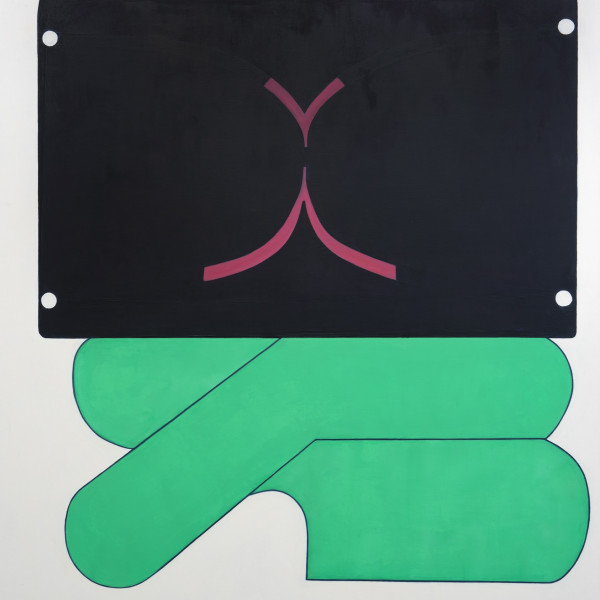 "Fran Shalom's ""Beginner's Mind"" oil on canvas in flat shades of green and black with some dark pink. The painting has jungle green lanes with a flat black surface on top of it. It is creating an illusion of space."