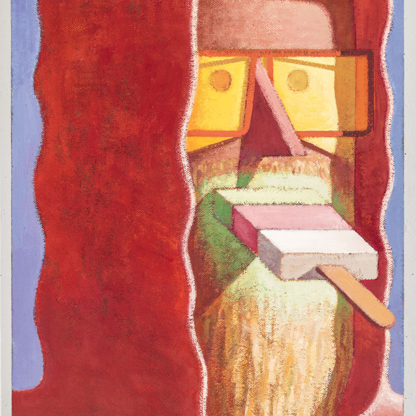 Vibrant abstract painting on canvas in shades of red, blue, yellow, pink, green and white. The painting is more of a caricature of a hooded man with a popsicle in his mouth without holding it with his hands. His head is exaggerated in a long oval shape.