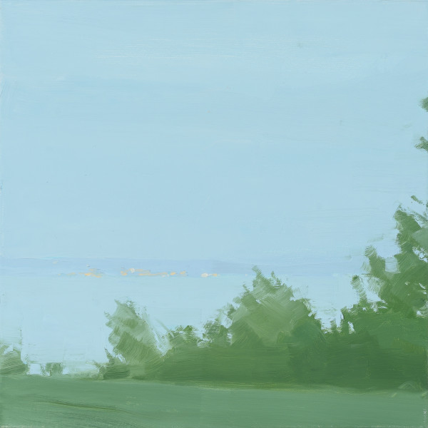 """Sara MacCulloch's """"Across the Water, Evening"""" oil painting on canvas in shades of green and blue. The painting depicts a field with trees and bushes near a lake in the background. It creates an illusion of depth and space on a flat surface."""