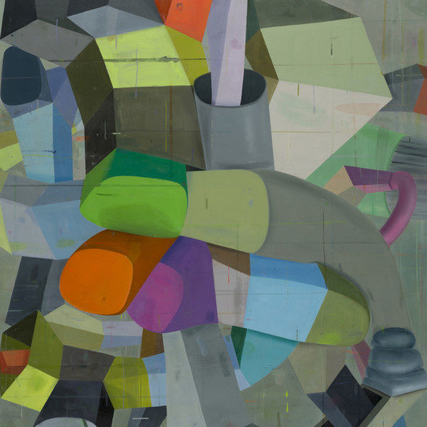 Abstract painting on canvas in various shades of gray, green, red, purple and blue. The painting depicts several three dimensional surreal shapes that gives a sense of cubism and depth with the shapes overlapping each other in both the background and fore