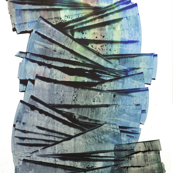 """Sarah Irvin's """"Atlas Uh-Oh"""" done in ink on yupo in shades of cool colors such as black, blue, green and brown. Strokes of ink are painted on each other creating an illusion of depth as the pattern overlaps and recedes."""